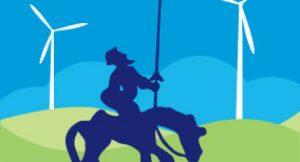 Don Quijote vor modernen Windmühlen; Bild: shutterstock