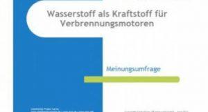 """Studie zum Thema """"Wasserstoff als Kraftstoff für Verbrennungsmotoren"""""""