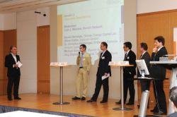 Veranstalter Curt Winnen von Munich Network mit den Teilnehmern der Podiumsdiskussion Cleantech Finanzierung