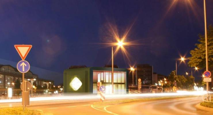 EnergieCity Leipzig Kubus bei Nacht