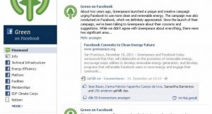 Green on Facebook; Bild: Screen shot