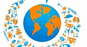Flugzeug mit Tourismus Icons Weg um die Welt fliegen; Bild: Bigstock