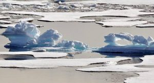 A melting ice floe in the Arctic Ocean