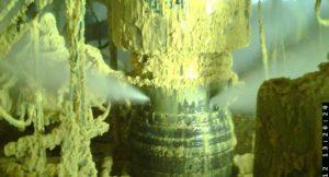 Blick auf die Quelle des Gasaustritts an der Elgin G4-Bohrung