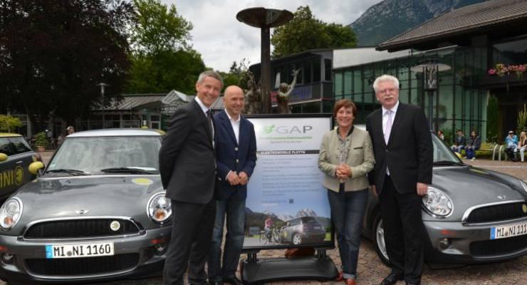 e-GAP Pressekonferenz (vlnr: Bürgermeister Thomas Schmid, Christian Neureuther, Rosi Mittermaier, Minister Martin Zeil)