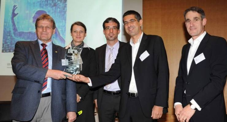 MCC Venture Award Ceremony, Prof. Eicke Weber, Gabriele Riedmann de Trinidad, Dr. Andreas Breuer, Zvika Klier, CEO of Tigi Ltd (Winner), Dr. Alois Flatz