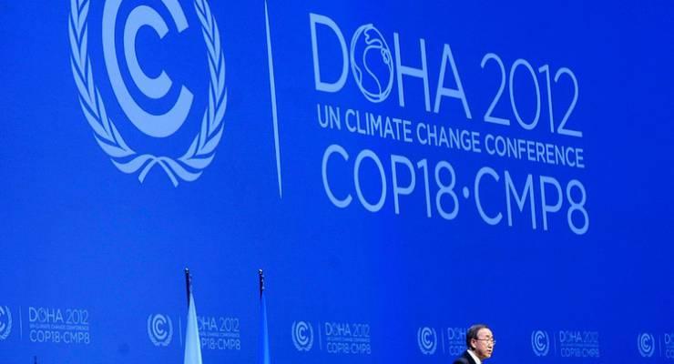 UNO-Generalsekretär Ban Ki-moon spricht auf der UN-Klimakonferenz in Doha