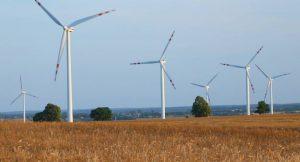 Windkraftanlagen auf kultivierten Weizenfeld, Polen