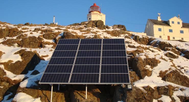 Solaranlage auf Littleisland in Norwegen