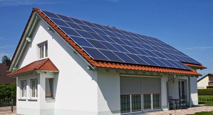 Solaranlage auf Familienhaus