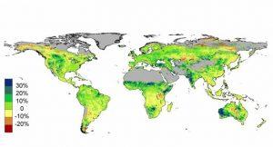 Satellitendaten zeigen die weltweite prozentuale Veränderung der Pflanzenbedeckung zwischen 1982 und 2010