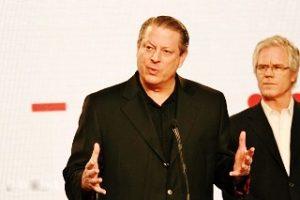 Öko-Kämpfer Al Gore und Kevin Wall bei einer Pressekonferenz